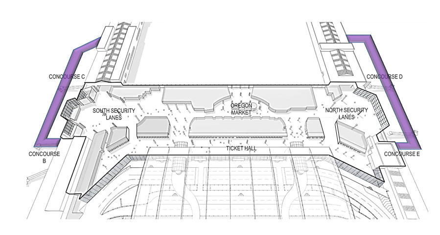 Map of terminal with new bypasses indicated on either side.