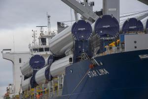 Vestas towers on ship